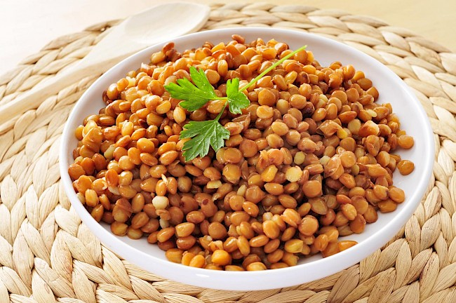 Cooked lentils - caloies, wieght