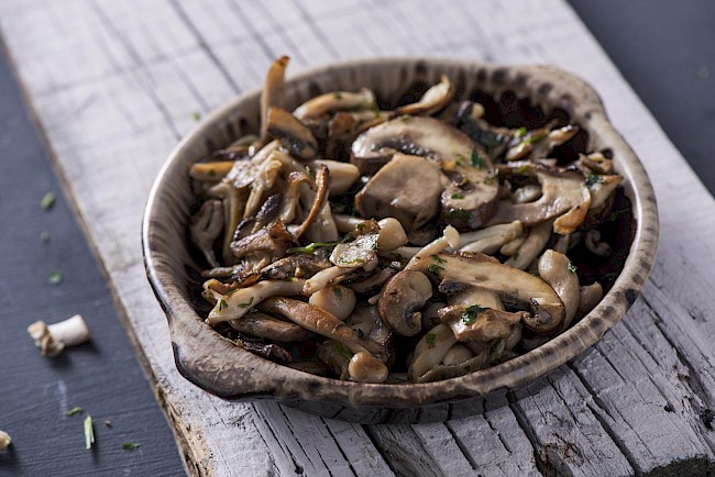Cooked mushrooms - caloies, wieght